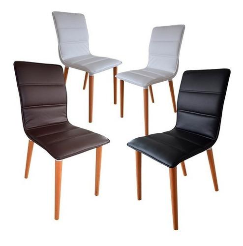 4 sillas de comedor en eco cuero y patas en madera. fidenza