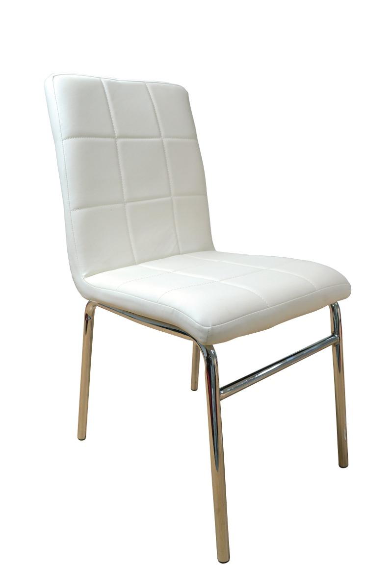 4 sillas de comedor en ecocuero tubo cromado moderna for Sillas de comedor de cuero