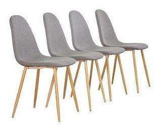 4 sillas estilo vortex color gris patas metálicas