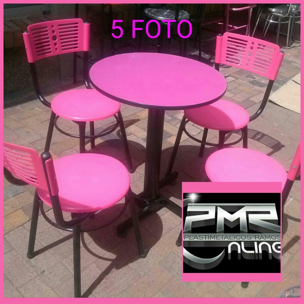 4 sillas karla plastica y mesa madera para restaurante bar for Sillas amarillas