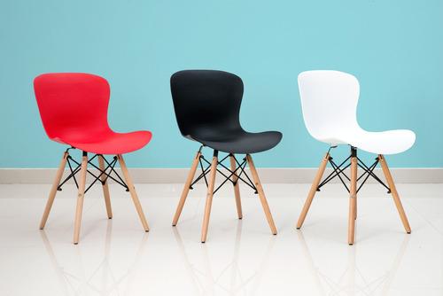 4 sillas moderna en plástico (pp) y patas en madera- riviera