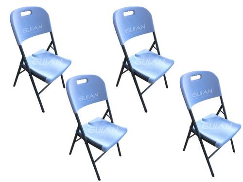 4 sillas plegable plastico y acero para exterior blanca