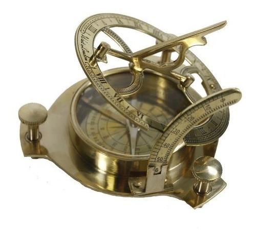 4  sundial compass - reloj de sol de cobre amarillo sólido