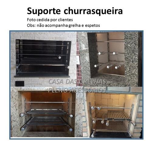 4 suportes p/ churrasqueira em inox p/ espetos e grelhas 75