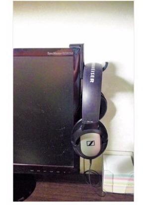 4 suportes para fone/headset auto-colante para monitor e tv