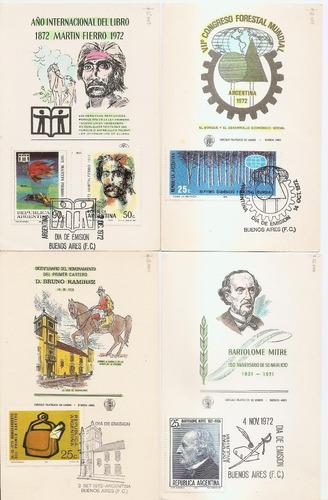 4 tarjetas primer día de argentina