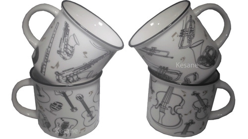 4 tazas para café motivos musicales instrumentos decoracion