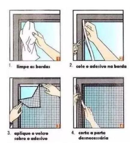 4 tela mosquiteira em poliéster p/ janelas 150 x 180.