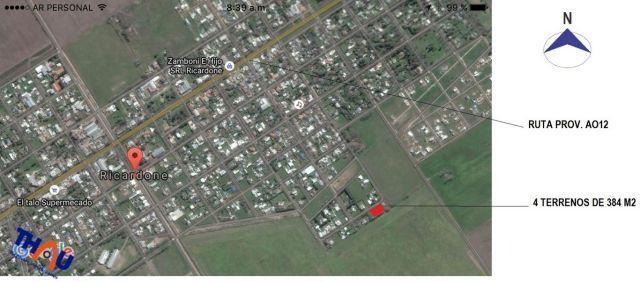 4 terrenos de 12 mts de frente por 32 mts de fondo cada uno, un total de 1536 m2 orientados al noroeste.