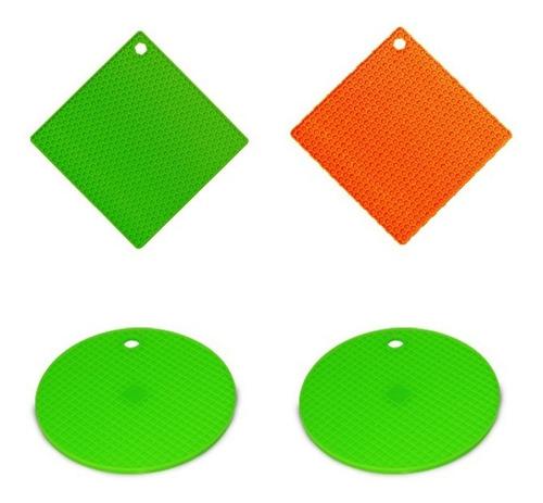 4 unid apoio para panelas em silicone colorido