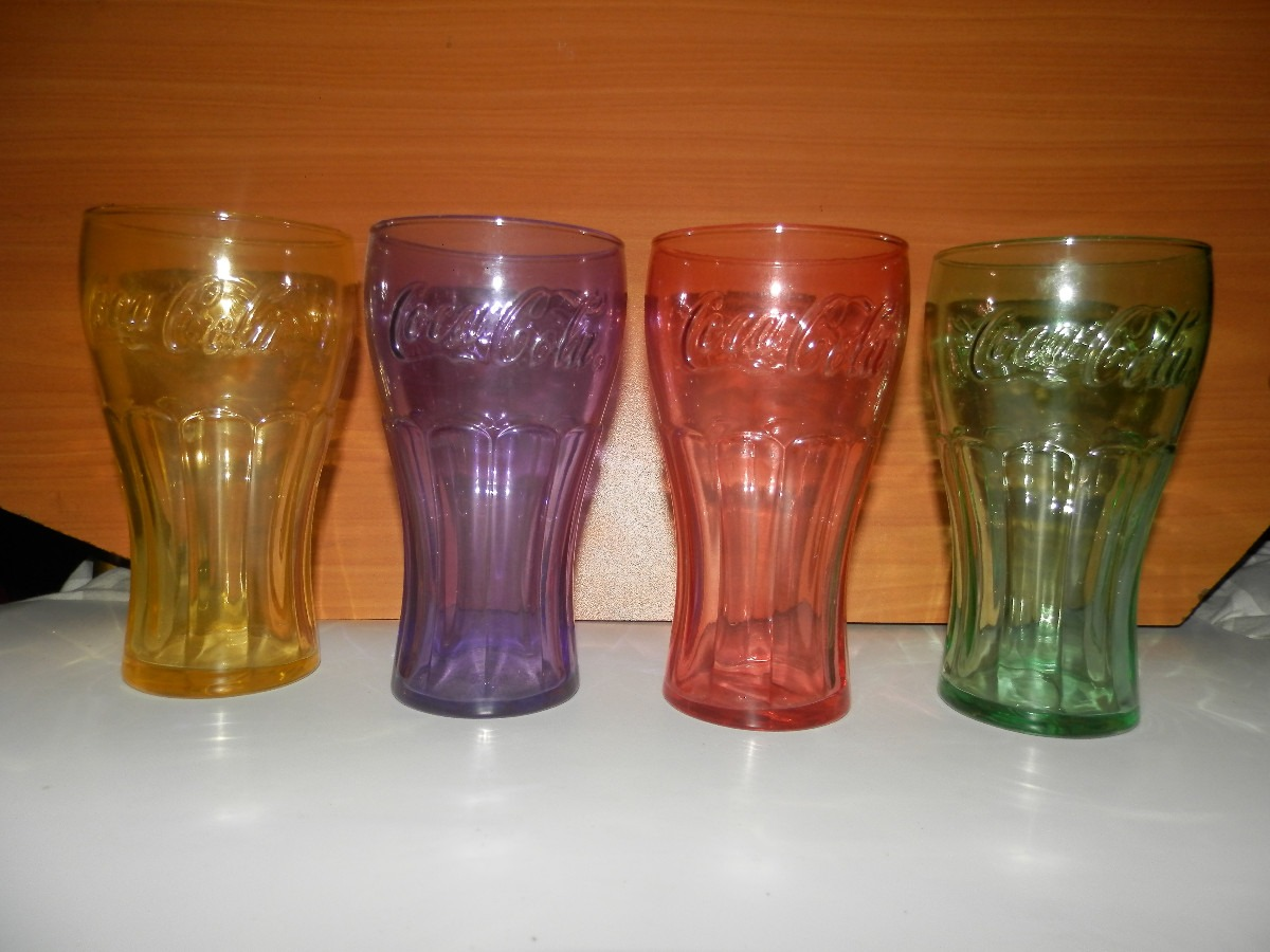 4 vasos de colores de coca cola en mercado libre - Vasos de colores ...