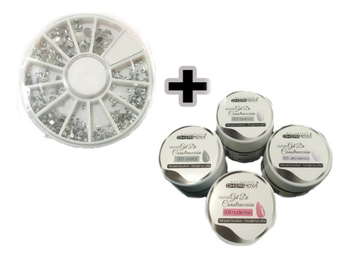 4 x gel uv led constructor cherimoya 15gr + rueda de strass