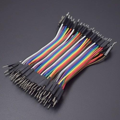 40 cables dupont jumper 10cm 2.54 mm macho a macho