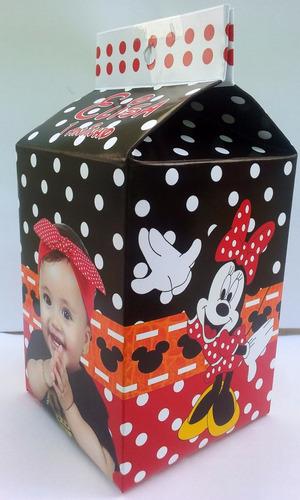 40 caixa milk leite personalizada minie  disney vermelha