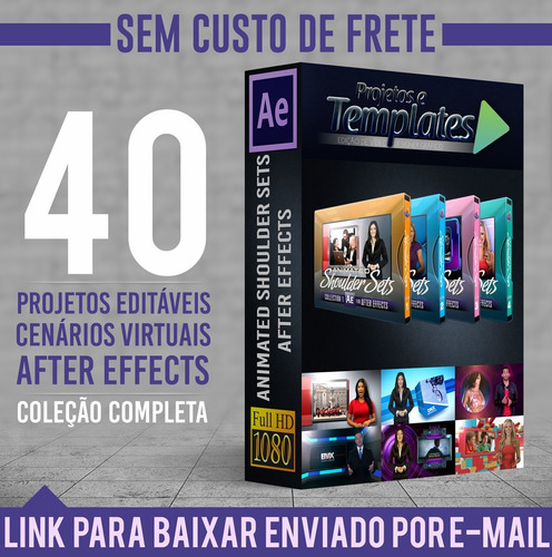 40 cenários virtuais animados -  after effects 4 volumes!