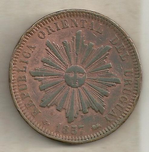 40 centésimos 1857 - uruguai - cobre - rara