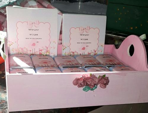 40 chocolates personalizados, caja fibro, cartel nacimiento