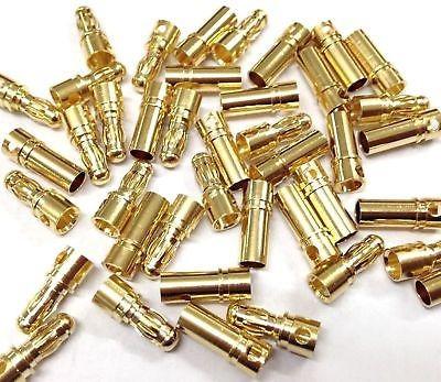 40 conjuntos de 3,5 mm oro bala conector enchufe macho hembr