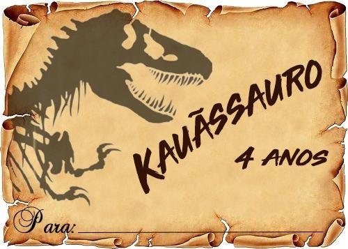 40 convite pergaminho dinossauro