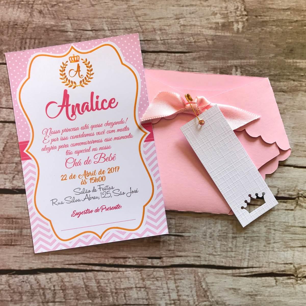 40 Convites Chá De Bebê Princesa Realeza Fralda Rosa R 10999