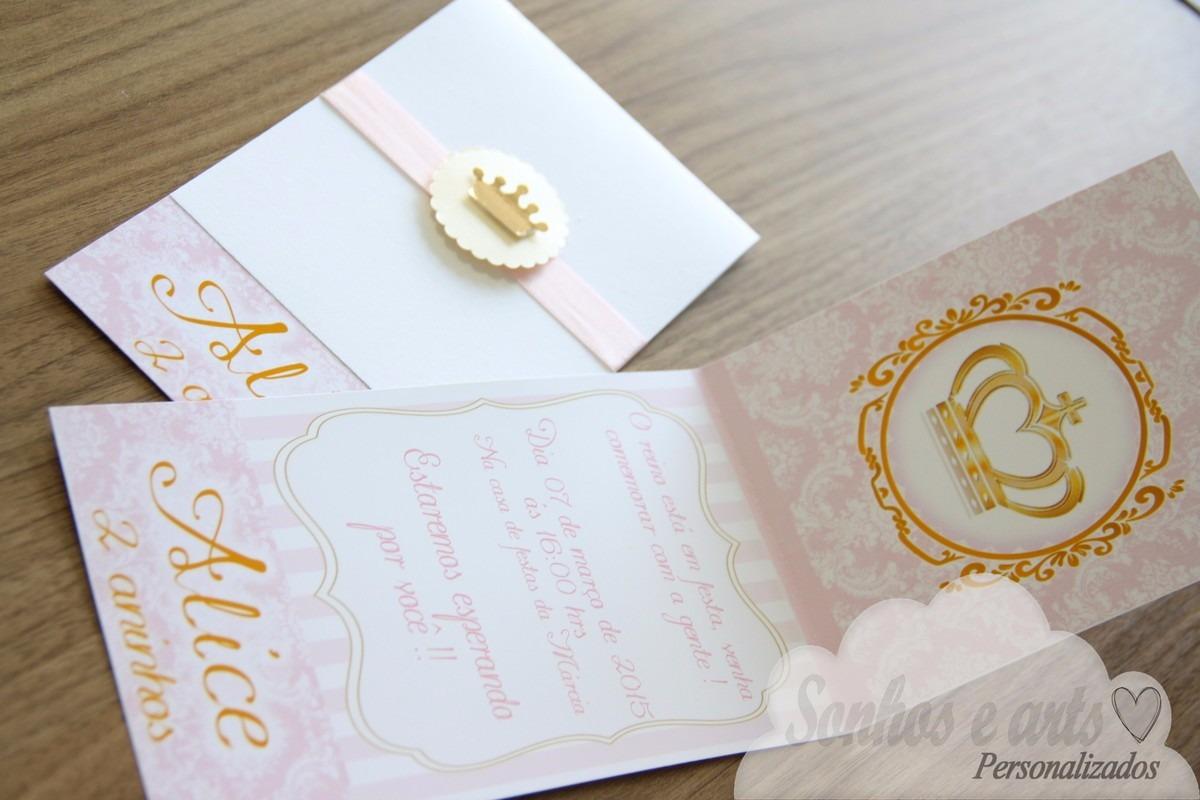 40 Convites Infantil Vintage Menina Coroa Dourada E Rosa R 9560