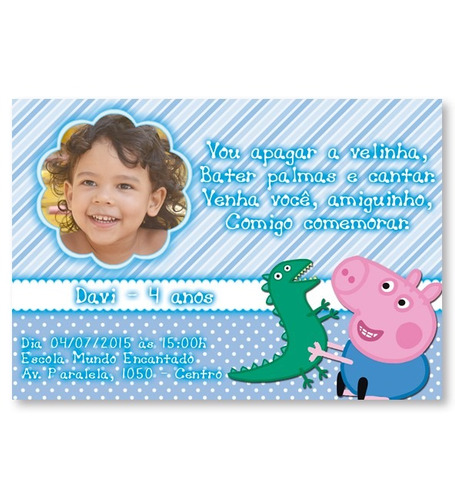 40 convites personalizados com envelope e tag - peppa pig