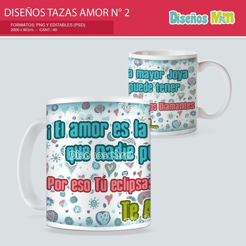 40 diseños photoshop mugs taza sublimacion enamorados