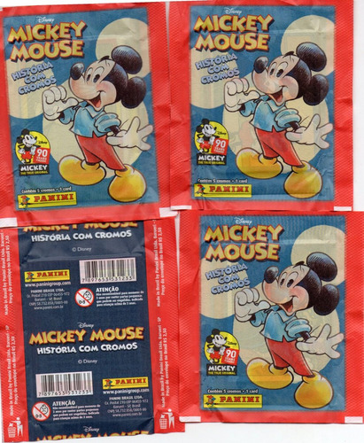 40 envelopes mickey mouse 90 anos 200 figurinhas e 40 cards