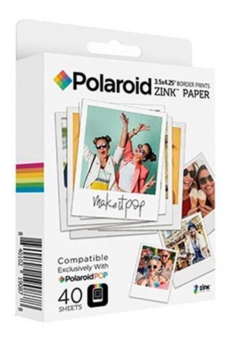 40 folhas papel fotográfico polaroid zink pop 3,5 x 4,25