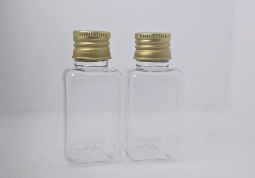 40 frasco quadrado pet 40ml com tampa prata para batizado