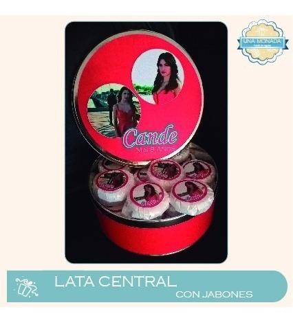 40 jabones + lata central 6,5x16cm personalizados!!
