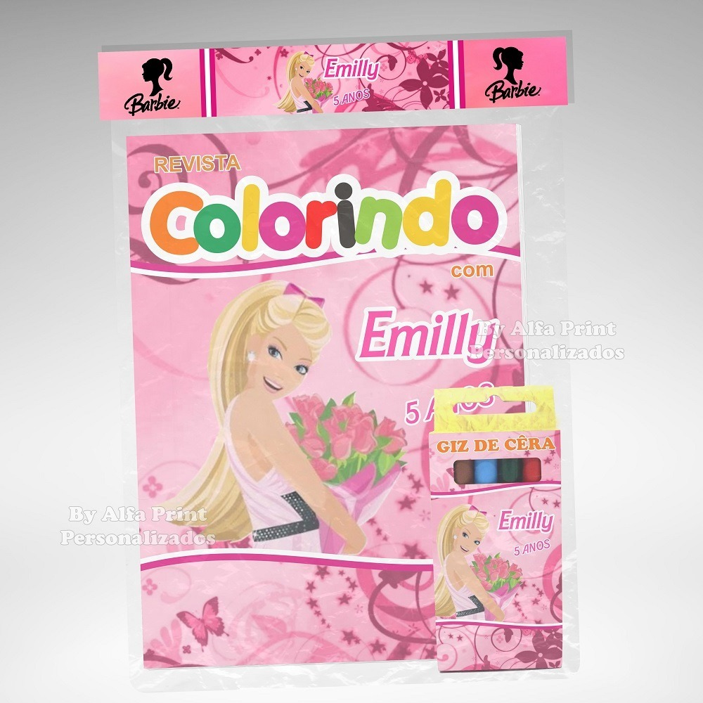 40 Kit Colorir Barbie Revista Giz Lembrança