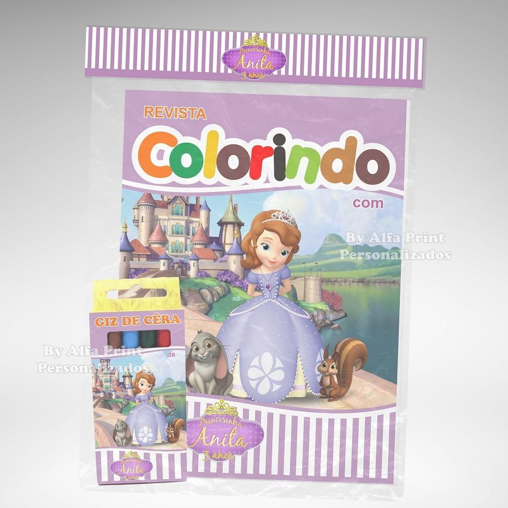 40 Kit Colorir Princesa Sofia Revista Giz Lembranca R 210 00 Em