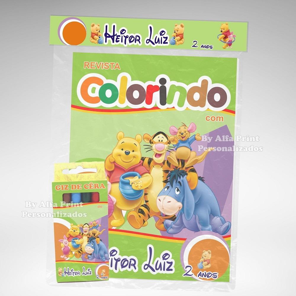 40 Kit Colorir Ursinho Pooh Revista Giz Lembranca R 210 00 Em