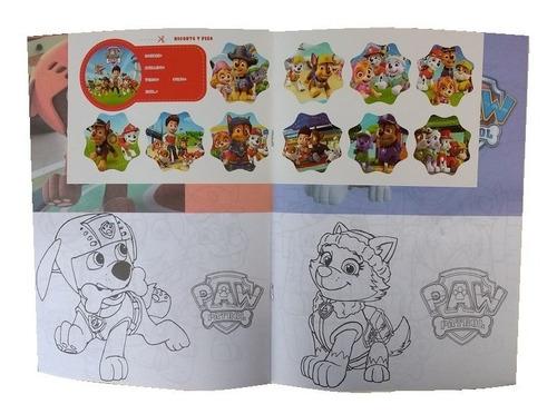 40 libros p/ colorear 16 páginas + plancha stickers a pintar