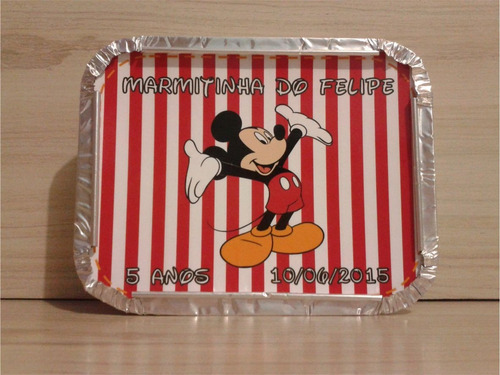 40 marmitinhas personalizadas mickey - lembrancinha