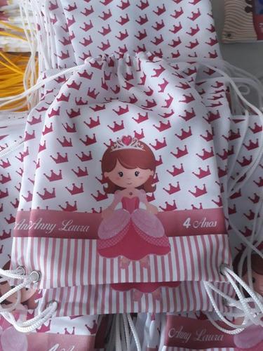 40 mochila saco/ lembrancinha personalizadas 19x27 cm
