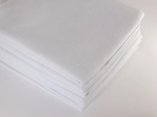 40 panos de prato copa liso branco bainhado 65x38 cm atacado