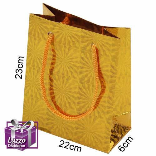 40 sacola dourada grande para presente lazzo embalagens