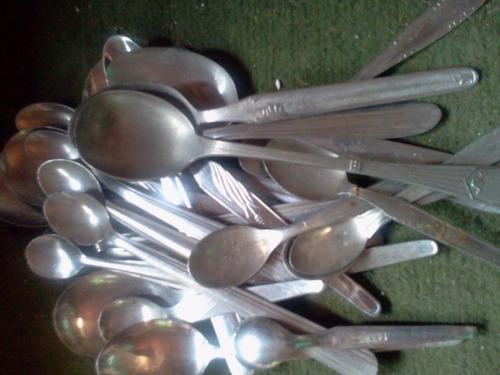 40 tenedores cucharas cucharitas de acero inoxidable antiguo