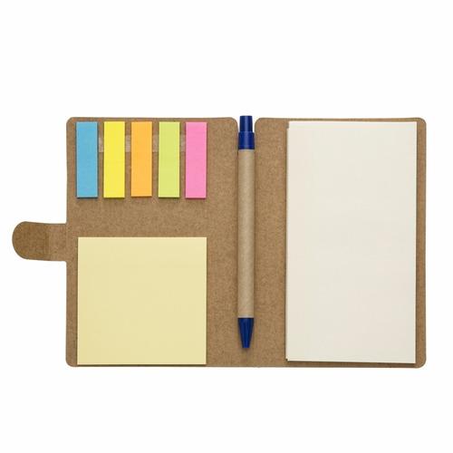 40 unidades bloco de anotações ecológico, c/post-it + caneta