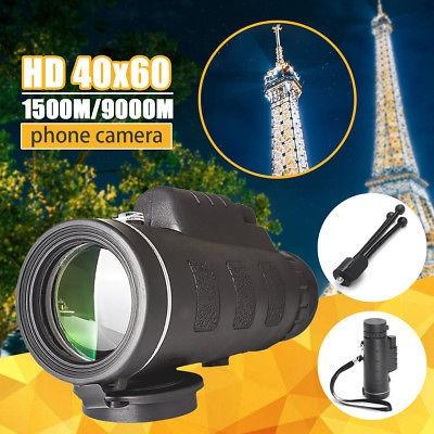 40 x 60 zoom óptico hd lente monocular telescopio + trípode