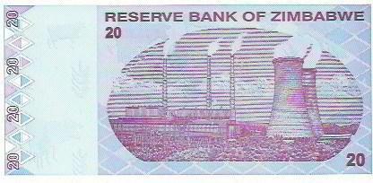 406 - cédula estrangeira - zimbabwe - twenty dollars
