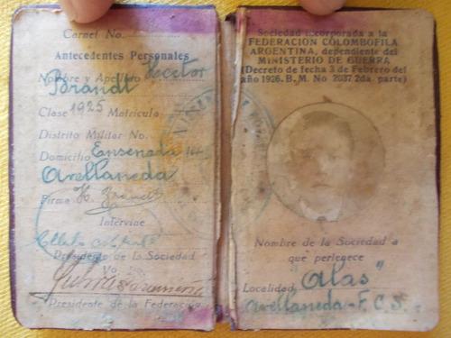 4082-carnet federación colombofila argentina. sociedad atlas