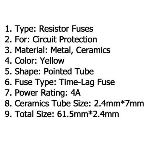 Amarillo Cerámico Resistor Fusible Time-Retraso Metal Axial Plomo 2.4x7mm