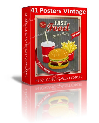 41 posters vintage fast food lanches hambúr pizzar ai e eps