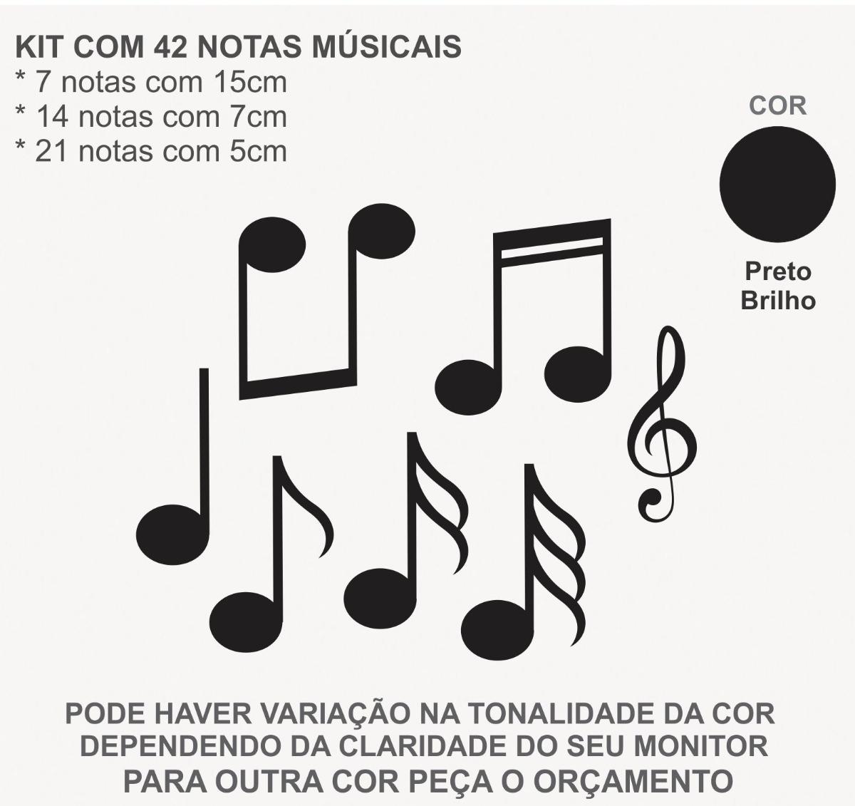 42 Adesivos Notas Musicais Quarto Geladeira Frete Carta R R