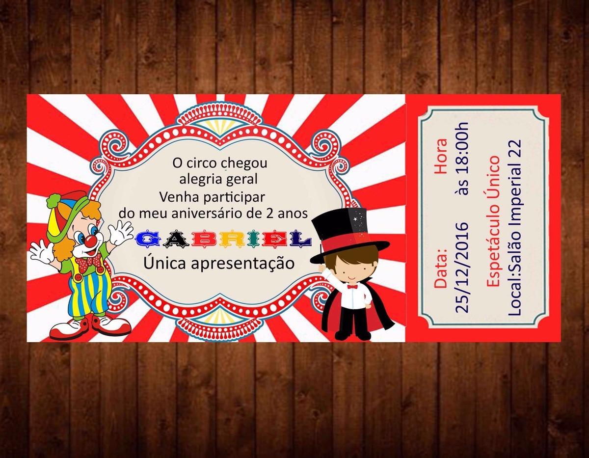 Convites Aniversario De 6 Anos: 45 Convites Circo Personalizados Ingresso Infantil