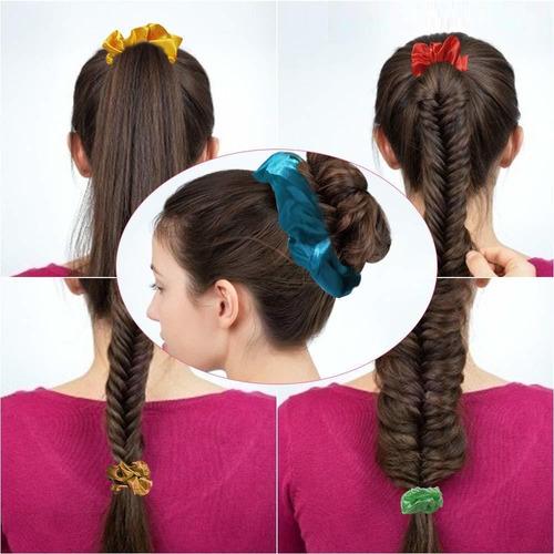 46 colores scrunchies de satén para cabello