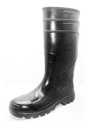 46 y 47, botas de goma pvc caña larga negra con puntera.